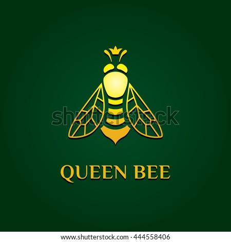 Vector Logotype Golden Bee Queen Logo Stock Vector ...