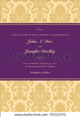 Vector elegant frame with sample text. Perfect as invitation or announcement. Pattern is included as seamless swatch. All pieces are separate. Easy to change colors. - stock vector