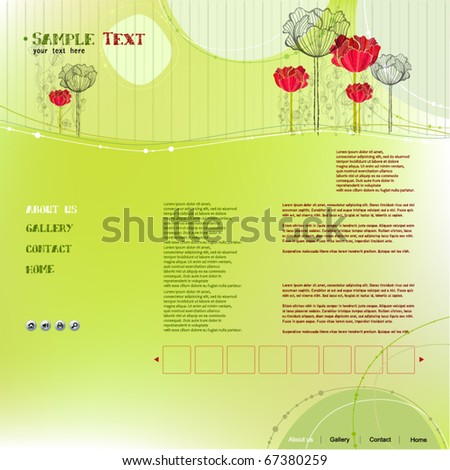vector elegant modern website template with floral elements - stock vector