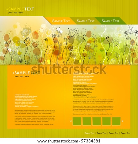vector elegant modern website template with illustrated beautiful floral background - stock vector