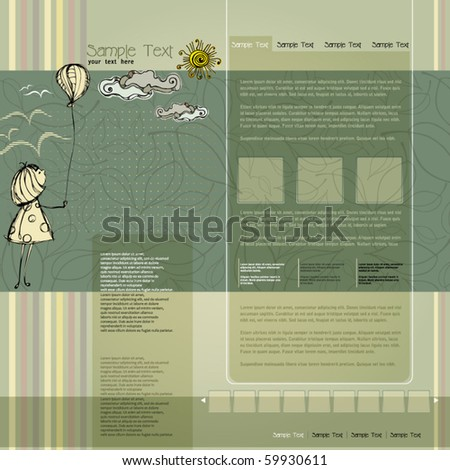 vector elegant modern website template with illustrated little girl - stock vector