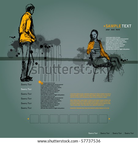 vector elegant modern website template with illustrated people and grunge background - stock vector