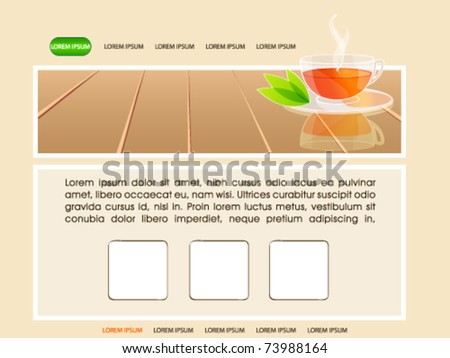 Vector elegant website illustration with a cup of tea and green leaves - stock vector