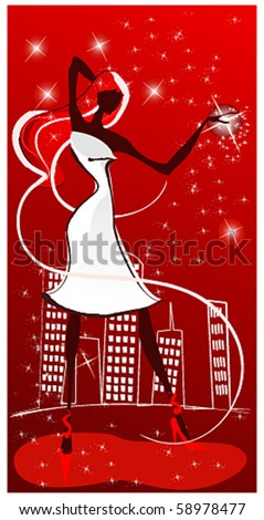 Vector elegant woman in front of cityscape - stock vector