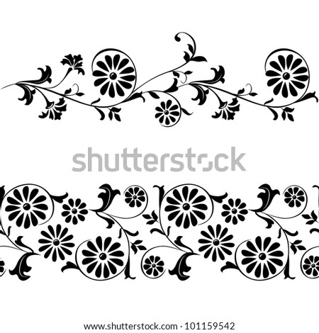Vector  elements for design flowers and ornaments floral. Webbing, lace, border seamless pattern - stock vector