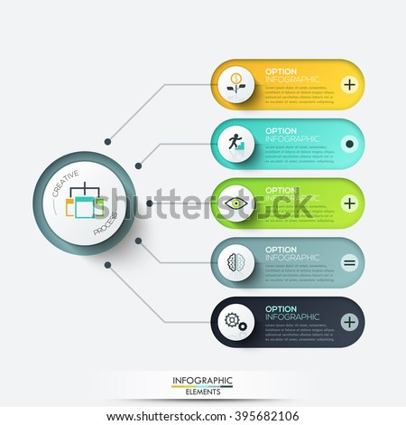 Vector elements for infographic. Template for diagram, graph, presentation and chart. Business concept with 5 options, parts, steps or processes. Abstract background - stock vector