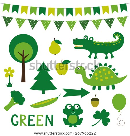 Vector elements in green color