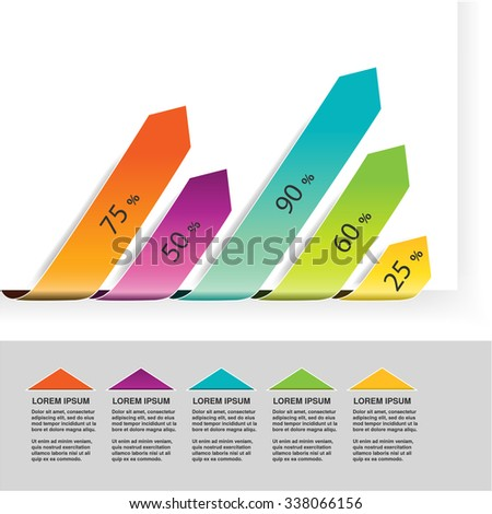 Vector elements infographics, diagram with arrows, simple colorful graph percent, 5 step timeline indicator, bar graph, chart process steps
