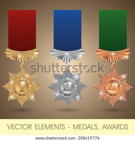 Vector elements - medals, awards - stock vector