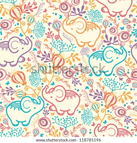 Vector Elephants With Flowers Seamless Pattern Background. Cut, hand drawn and colorful elements. - stock vector