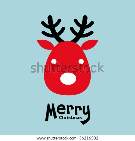 vector elk of christmas card - stock vector
