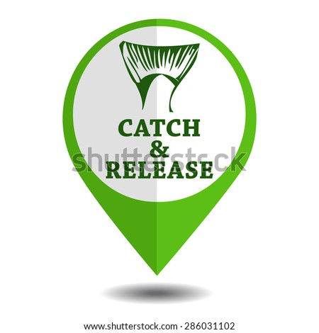 vector emblem fishing catch & release with tail and lettering in marker symbol - stock vector