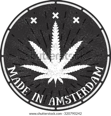 Vector emblem icon marijuana. Made in Amsterdam. Hemp logo illustration for the use of printing on t-shirts, logos, labels, posters, trading stamps. Natural hemp product in flat style.