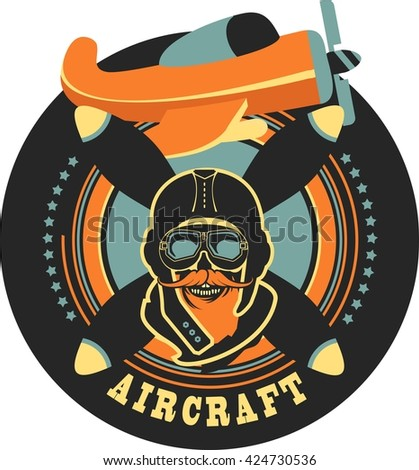 Vector emblem in retro style on a background of a dead pilot propeller aircraft, a skull wearing a helmet - stock vector