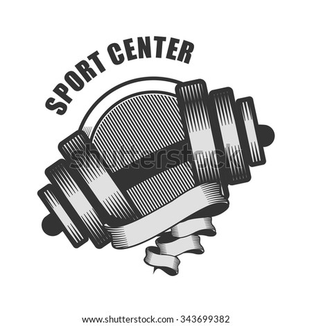 vector emblem logo for the sports center hand with a dumbbell on a white background - stock vector