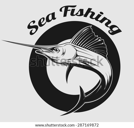 vector emblem of sea fishing and swordfish or Marlin on it - stock vector