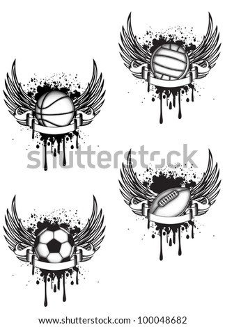 Vector emblem volleyball, football, rugby and basketball with wings set - stock vector