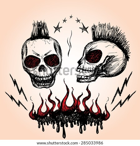 Vector emblem with a skull , hand drawing, vector
