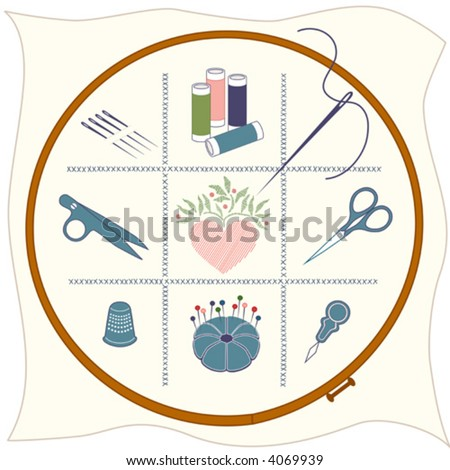 vector - EMBROIDERY ICONS. Wood hoop, cloth, cross stitch, needle, bobbins, thread clips, folk art design heart, scissors, thimble, pin cushion, threader, for do it yourself needlework, sewing.  EPS8. - stock vector