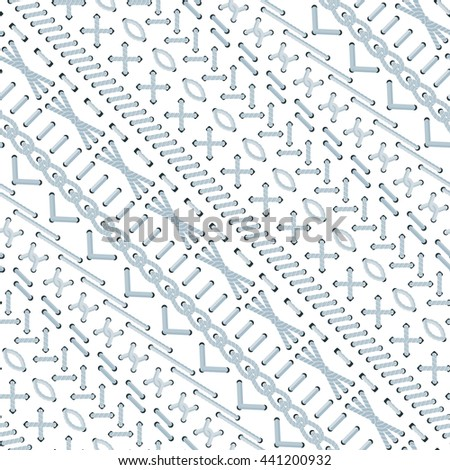 Vector embroidery stitch seamless pattern. Ethnic craft design. Cross borders. Sewing texture. Divider line