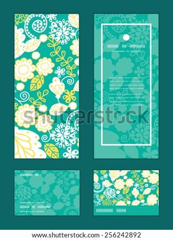 Vector emerald flowerals vertical frame pattern invitation greeting, RSVP and thank you cards set - stock vector
