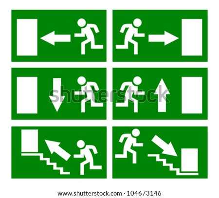 Vector emergency exit signs set - stock vector