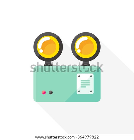 vector emergency light / two eyes light / flat, icon, long shadow / on white - stock vector