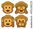 vector emoji monkeys set...