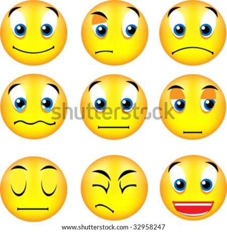 vector emoticons with different expression - stock vector