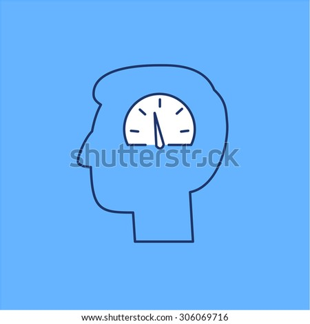 Vector emotion regulation skills icon of speedometer in brain   modern flat design soft skills linear illustration and infographic on blue background - stock vector