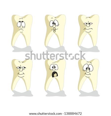 Vector. Emotion tooth cartoon set 007 - stock vector