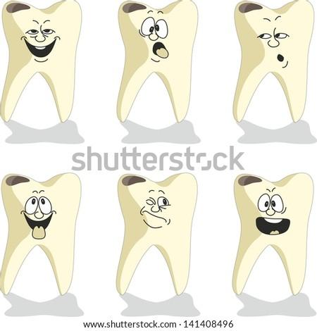 Vector. Emotion tooth cartoon set 009 - stock vector
