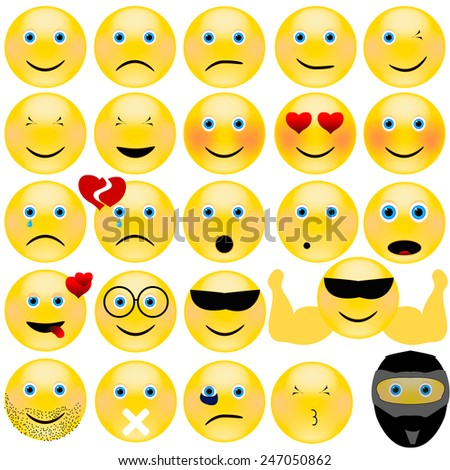 Vector emotional face icons - stock vector