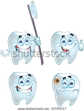 vector emotional teeth isolated on a white background - stock vector