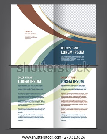 Vector empty bi-fold brochure print template blue design, booklet layout - stock vector