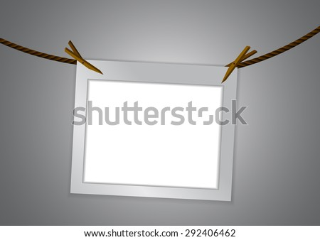 Vector : Empty frame and clothespin on rope - stock vector