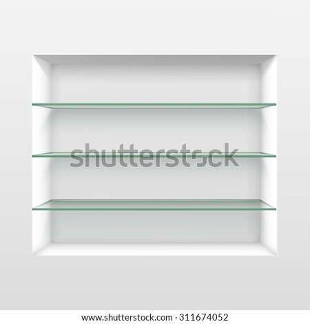Vector Empty Glass Shelf Shelves Isolated on Wall Background - stock vector