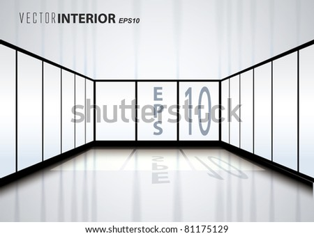 Vector Empty Interior with Sun rays and Reflection - stock vector