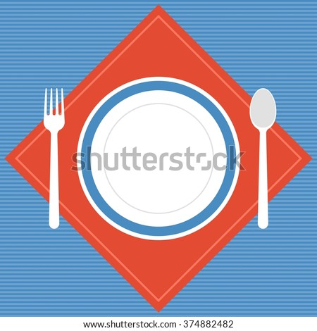 Vector empty plate, fork and spoon with napkin, restaurant sign,flat design - stock vector