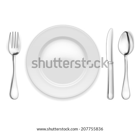 Vector empty plate with spoon, knife and fork on white background - stock vector