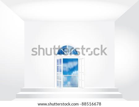 vector empty room with opened doors - stock vector