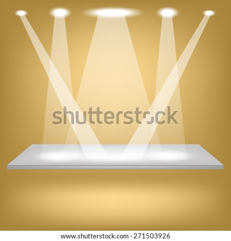Vector Empty Shelf Isolated on Brown Background. Spotlights Illuminated the Empty Shelf. - stock vector