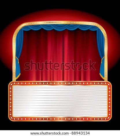 vector empty stage with blank billboard - stock vector