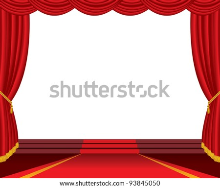 vector empty stage with red carpet and stairs - stock vector