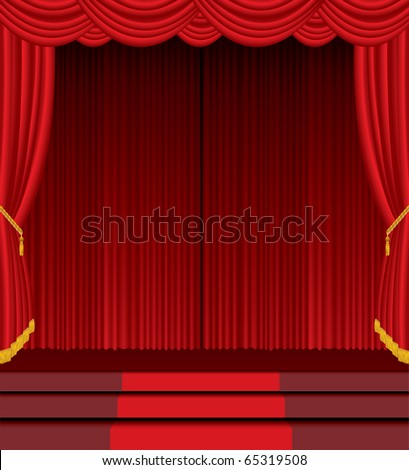 vector empty stage with red carpet on stairs - stock vector