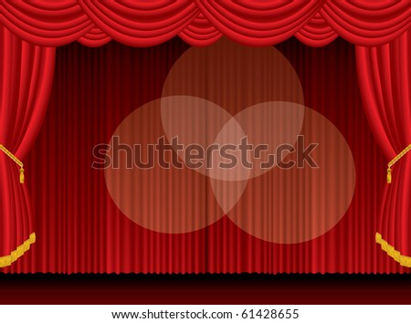 vector empty stage with three spotlights, eps 10 file - stock vector