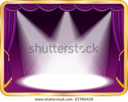 vector empty stage with violet curtain and three spots, eps 10 file - stock vector