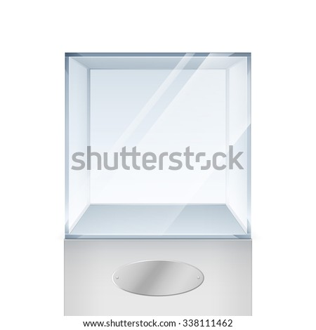 Vector Empty Transparent Glass Box Cube Isolated on White Background - stock vector
