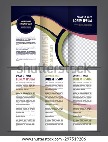 Vector empty tri-fold brochure print template design, trifold bright booklet or flayer - stock vector