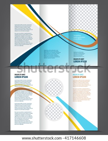 Vector Empty Trifold Brochure Template Print Stock Vector 417146608